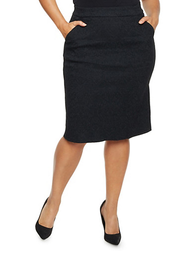 Plus Size Pencil Skirt with Embroidery,BLACK,large