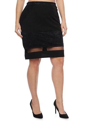 Plus Size Pencil Skirt with Lace Trim and Shadow Stripe Hem,BLACK,large