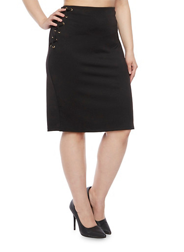 Plus Size Pencil Skirt with Fixed Lace Up Sides,BLACK,large