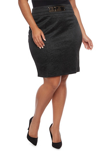 Plus Size Embossed Pencil Skirt with Plated Belt,BLACK,large