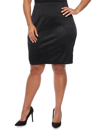Plus Size Pencil Skirt with Embossed Print,BLACK,large