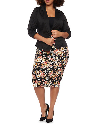 Plus Size Knit Blazer,BLACK,large