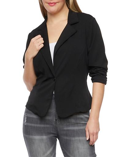 Plus Size Solid Knit Blazer,BLACK,large