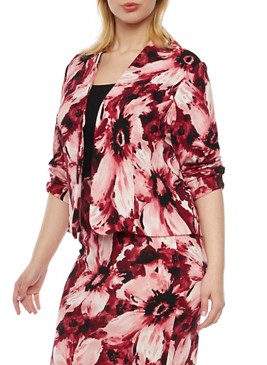 Plus Size Floral Print Blazer,WINE,large