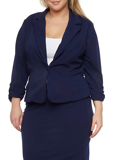 Plus Size Knit Blazer with Ruched Sleeves,NAVY,large