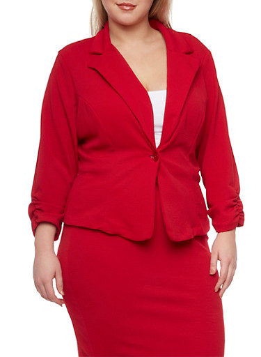 Plus Size Knit Blazer with Ruched Sleeves,RUBY,large