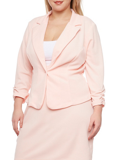 Plus Size Knit Blazer with Ruched Sleeves,ROSE,large
