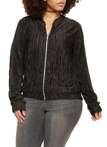 Plus Size Textured Crinkle Bomber Jacket,BLACK,large