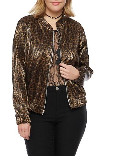 Plus Size Satin Leopard Print Bomber Jacket,BLACK,large