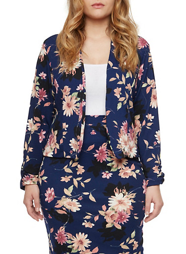 Plus Size Blazer with Floral Print and Open Front,NAVY/MAVUE,large