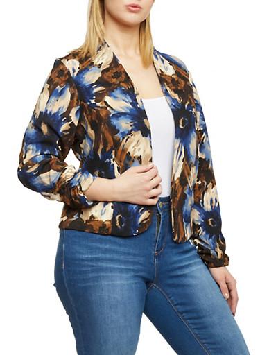 Plus Size Floral Open Front Blazer,NAVY,large