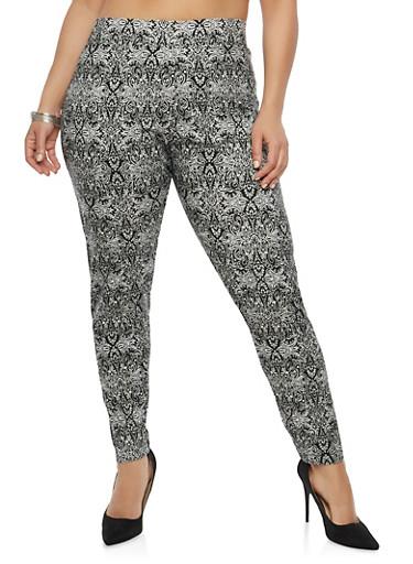 Plus Size Printed Pants,WHITE/BLACK,large