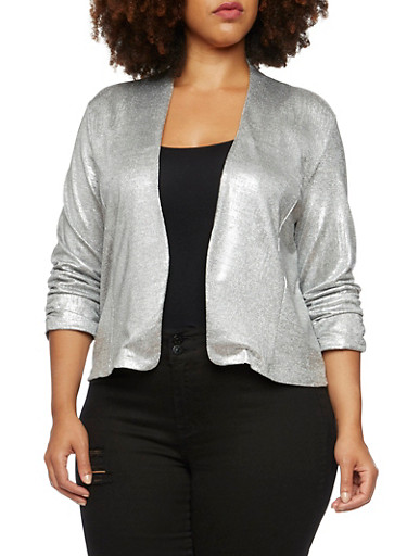 Plus Size Open Blazer in Brushed Foil,SILVER,large