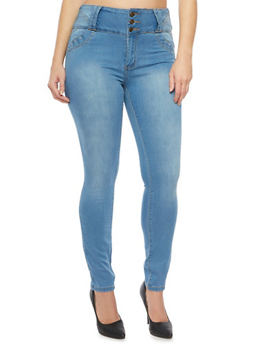 Plus Size High Waisted Jeans with Three Buttons,LIGHT WASH,large