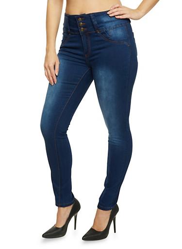 Plus Size High Waisted Skinny Jeans,MEDIUM WASH,large