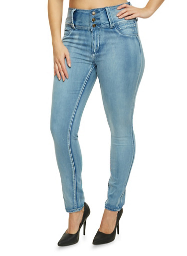 Plus Size High Waisted Push Up Skinny Jeans,ICE,large