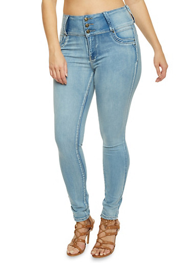 Plus Size High Waisted Skinny Jeans with Push Up Detail,ICE,large