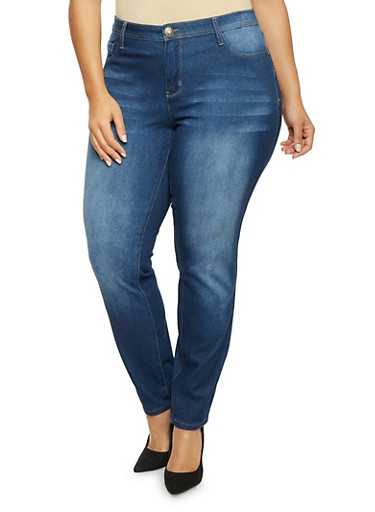 Plus Size Jeans with Light Whiskering,DARK WASH,large
