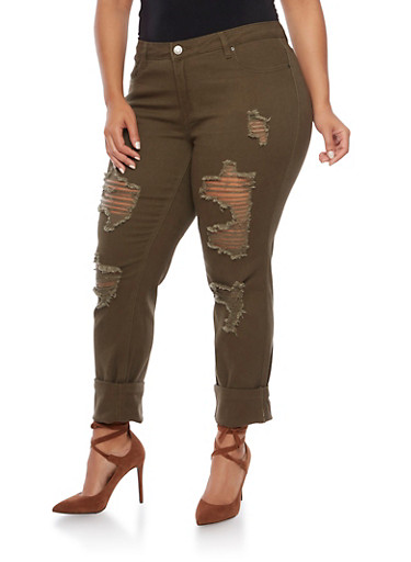 Plus Size Jeans with Distressing,OLIVE,large