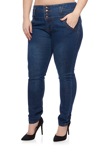 Plus Size High Waisted Jeans with Four Buttons,DENIM,large