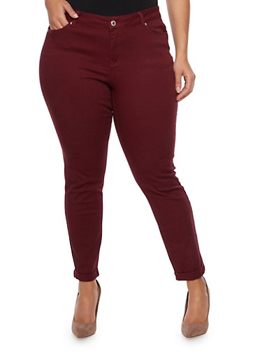 Plus Size Wax Skinny Jeans with Rolled Cuffs,BURGUNDY,large