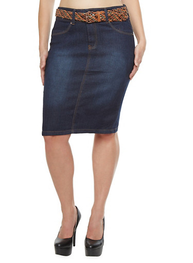 Plus Size Two Button Denim Skirt with Braided Faux Leather Belt,DENIM,large
