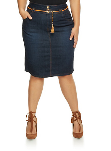 Plus Size Denim Pencil Skirt with Tassel Belt,DENIM,large