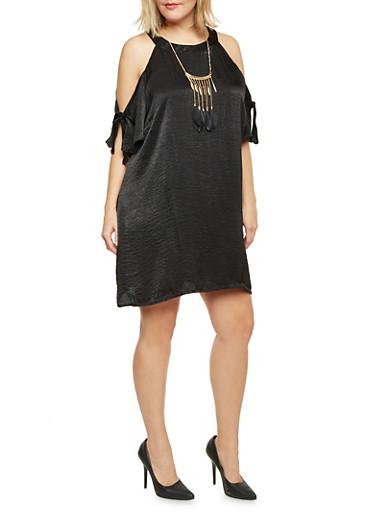Plus Size Cold Shoulder Swing Dress with Necklace,BLACK,large