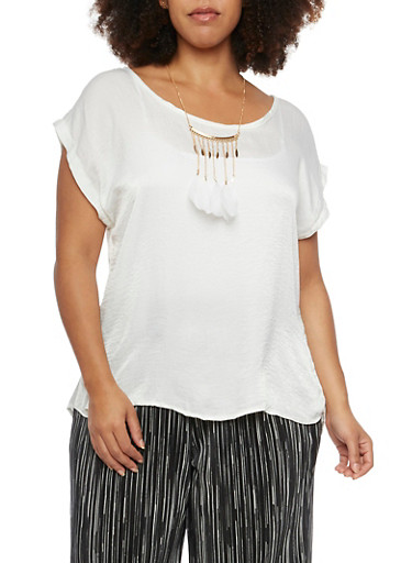 Plus Size Satin Top with Feather Necklace,IVORY,large