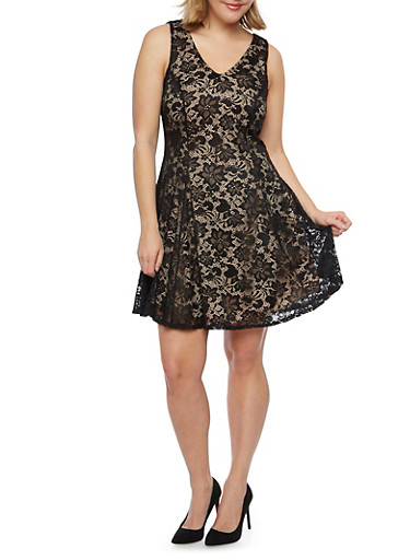 Plus Size Sleeveless Lace Skater Dress,BLACK,large