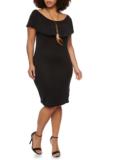 Plus Size Peasant Dress with Feather Necklace,BLACK,large