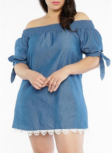 Plus Size Off the Shoulder Denim Dress,DENIM,large