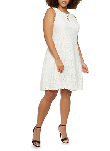 Plus Size Sleeveless Dress in Lace,IVORY,large