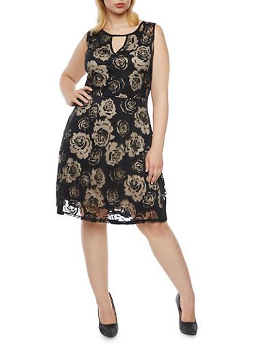 Plus Size Floral Skater Dress with Keyhole Cutout,BLACK,large