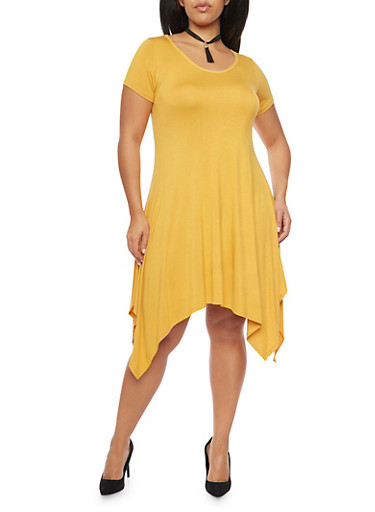 Plus Size Short Sleeve Dress with Tassel Choker,MUSTARD,large