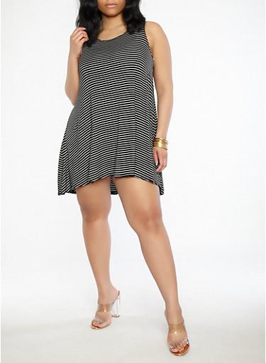 Plus Size Striped Swing Dress,BLACK,large
