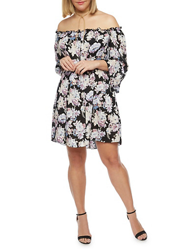 Plus Size Off the Shoulder Peasant Dress in Floral Print,LILAC,large
