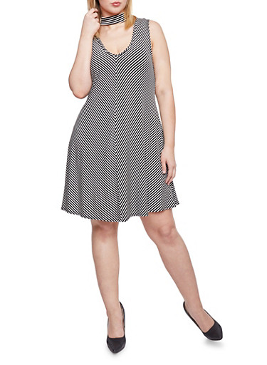 Plus Size Striped Swing Dress with Keyhole Choker,BLACK/WHITE,large