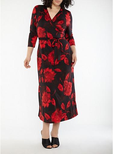 Plus Size Faux Wrap Floral Maxi Dress,BLACK,large