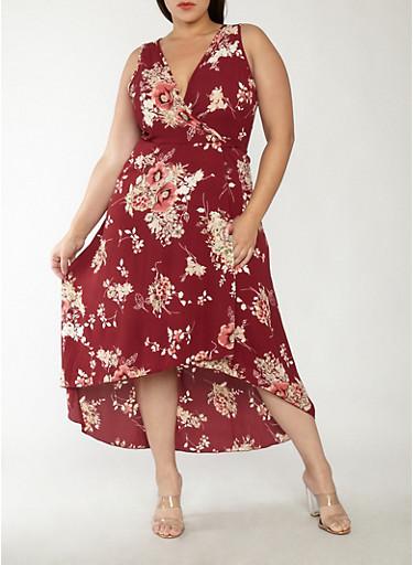 Plus Size Floral High Low Wrap Dress,BURGUNDY,large