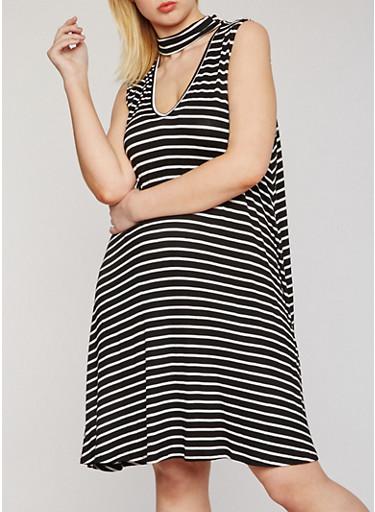 Plus Size Striped Keyhole Choker Trapeze Dress,BLACK/WHITE,large