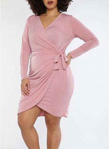 Plus Size Wrap Front Dress,MAUVE,large