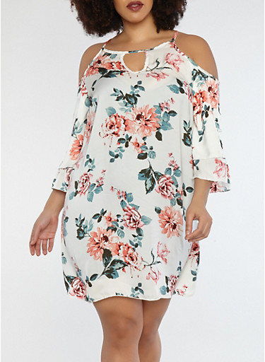 Plus Size Floral Cold Shoulder Dress,CREAM,large