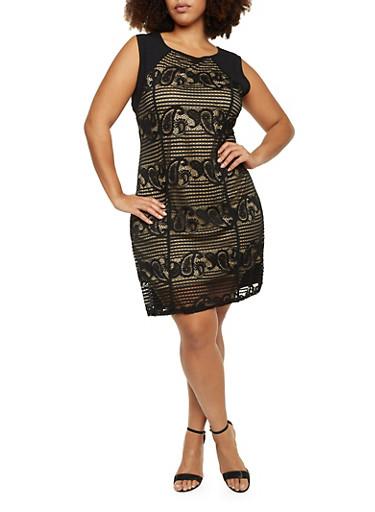 Plus Size Sleeveless Midi Dress with Lace Overlay,BLACK,large