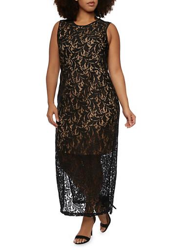 Plus Size Sleeveless Lace Maxi Dress with Back Keyhole,BLACK,large