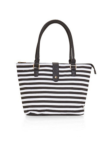 Striped Canvas Tote Bag with Faux Leather Handles,BLACK/WHITE,large