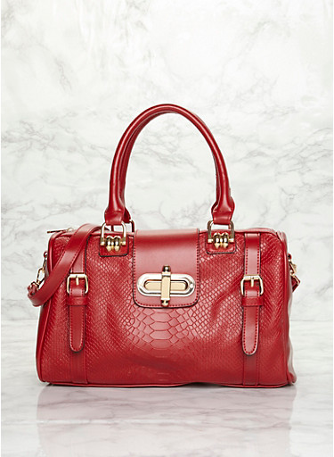 Embossed Faux Leather Satchel Bag with Twist Lock,RED,large