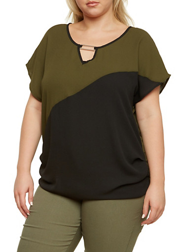 Plus Size Semi Sheer Color Block Top,OLIVE,large