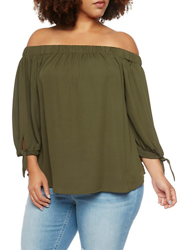 Plus Size Off the Shoulder Top with Tie Sleeves,OLIVE,large