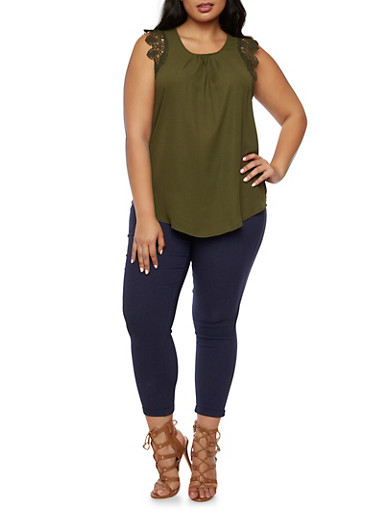 Plus Size Chiffon Top with Crochet Trim,OLIVE,large
